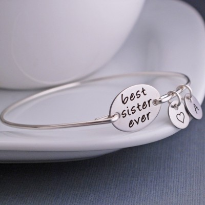 Best Sister Ever Bracelet, Silver or Gold Bracelet, Maid of Honor Jewelry, BFF Sister Gift, Favorite Sister, Sister from Another Mister