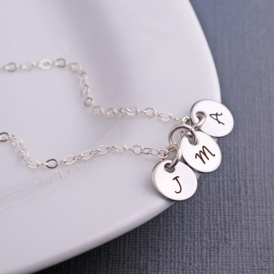 Custom Mother's Necklace, Christmas Gift, Silver Initial Necklace, Gift For Mom, Custom Initial Jewelry