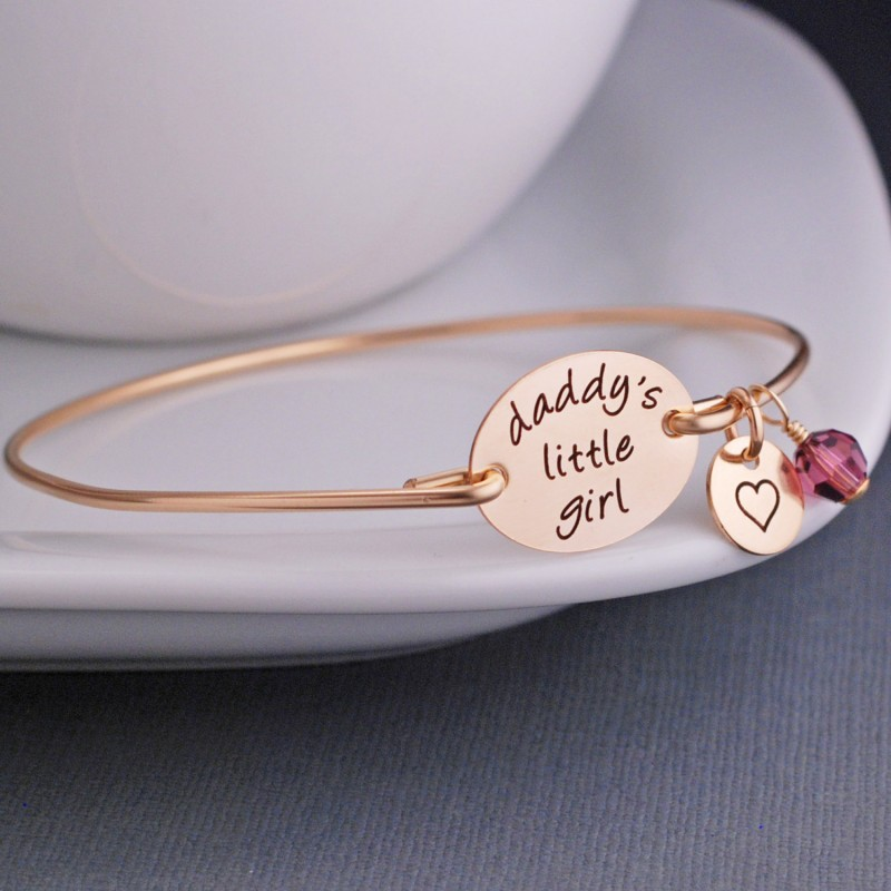 Personalized Daddy/'s Little Girl Bracelet-w// I Love You Charm-Dad Daughter Gift
