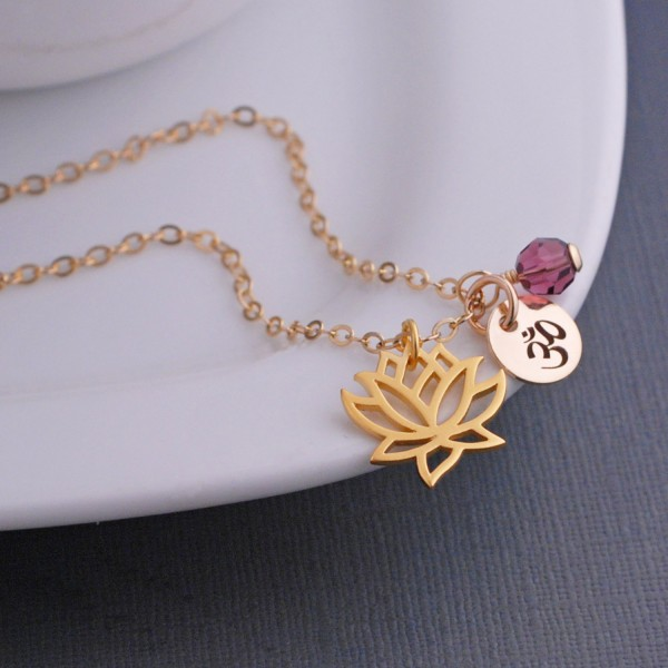Gold Lotus Necklace Custom Yoga Jewelry Gift Gold Lotus Flower