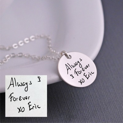 Handwritten Necklace, Silver Handwritten Jewelry, Personalized Gift for Christmas for Wife, YOUR OWN HANDWRITING, Anniversary Gift