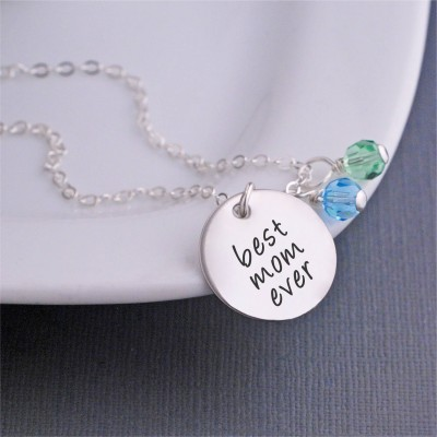 Personalized Jewelry, Best Mom Ever Necklace, Mother's Charm Necklace, Sterling Silver Mom Jewelry, Christmas Gift for Wife