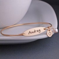 Disc Charm Bracelet Sterling Silver Personalized Name Bangle Bracelet Mothers Day Gift SB1024 Name Jewelry Custom Gift for Mom