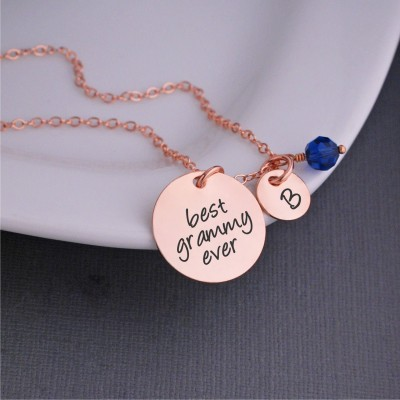 Rose Gold Grammy Necklace, Christmas Gift for Grammy, Personalized Jewelry for Grammy, Custom Grammy Necklace with Charms