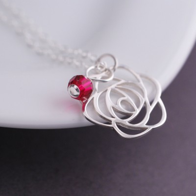 Rose Necklace,Christmas Jewelry Gift, Personalized Flower Necklace