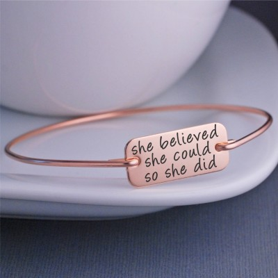 She Believed She Could So She Did Bracelet, Graduation Jewelry Gift, Graduation Gift for Her, Inspirational Bangle, Nursing Graduation