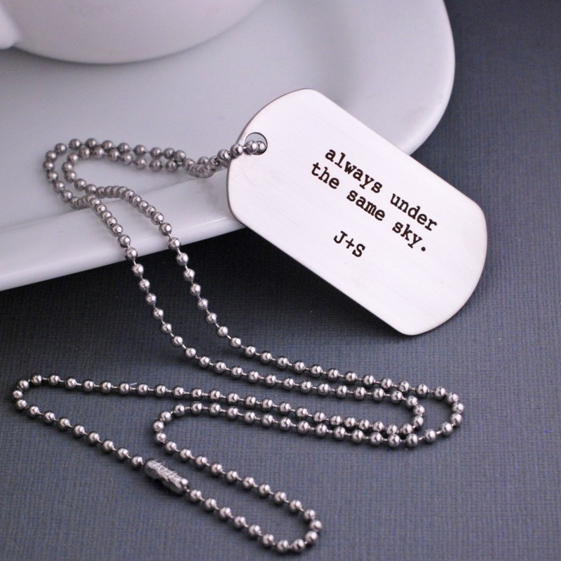 55bd4ff342cd Under the Same Sky Personalized Custom Dog Tag Necklace, Men's Jewelry,  Deployment Gift, Man's Necklace Dog Tags