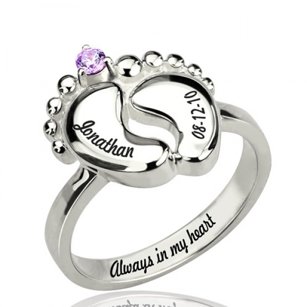 Engraved Baby Feet Ring with Birthstone Sterling Silver  - Crafted By Birthstone Design™