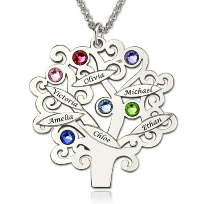 Engraved Family Tree Necklace with Birthstones Sterling Silver  - Crafted By Birthstone Design™