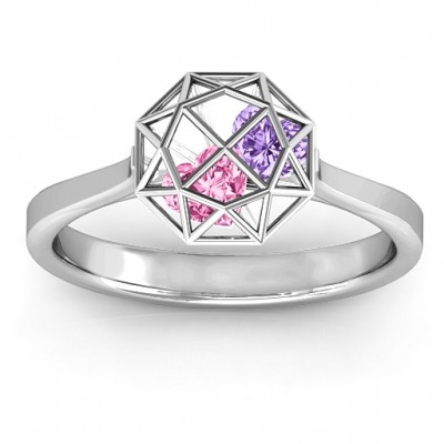 Personalised Diamond Cage Ring with Encased Heart Stones  - Crafted By Birthstone Design™