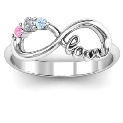 Customised Infinity Promise Ring With Birthstone Infinity Love Ring  - Crafted By Birthstone Design™