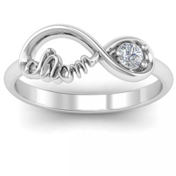 Mom's Infinity Bond Ring with Birthstone  - Crafted By Birthstone Design™