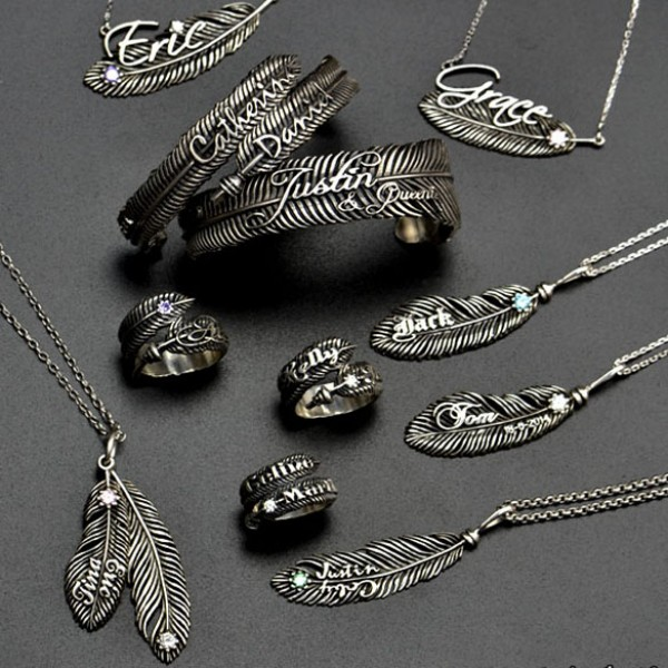 Luxury Feather Series - With Name Jewellery - Crafted By Birthstone Design™