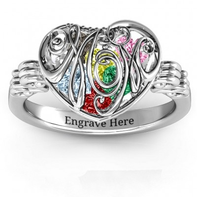 Cursive Mom Caged Hearts Ring with Butterfly Wings Band - Crafted By Birthstone Design™