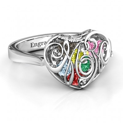 Cursive Mom Caged Hearts Ring with Ski Tip Band - Crafted By Birthstone Design™