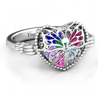 Butterfly Caged Hearts Ring with Butterfly Wings Band - Crafted By Birthstone Design™