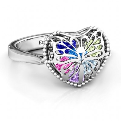 Butterfly Caged Hearts Ring with Ski Tip Band - Crafted By Birthstone Design™