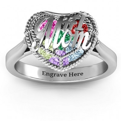 #1 Mom Caged Hearts Ring with Ski Tip Band - Crafted By Birthstone Design™