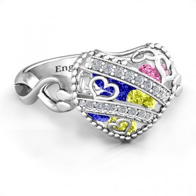Sparkling Diamond Hearts Caged Hearts Ring with Infinity Band - Crafted By Birthstone Design™