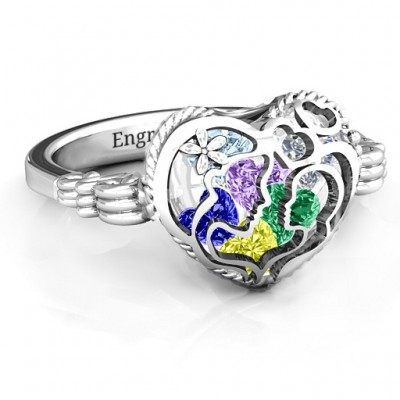 Mother and Child Caged Hearts Ring with Butterfly Wings Band - Crafted By Birthstone Design™