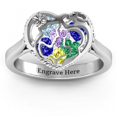 Mother and Child Caged Hearts Ring with Ski Tip Band - Crafted By Birthstone Design™