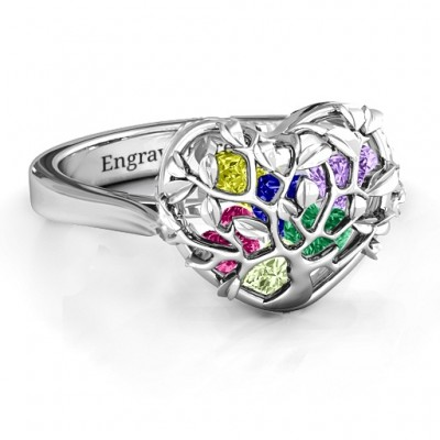 Family Tree Caged Hearts Ring with Ski Tip Band - Crafted By Birthstone Design™