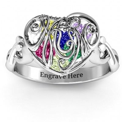 Cursive Mom Caged Hearts Ring with Infinity Band - Crafted By Birthstone Design™