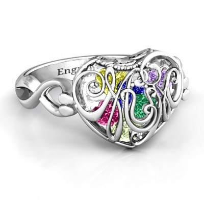 Mum heart Caged Hearts Ring with Infinity Band - Crafted By Birthstone Design™
