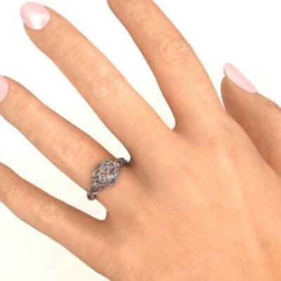 Encased in Love Petite Caged Hearts Ring with Classic with Engravings Band - Crafted By Birthstone Design™