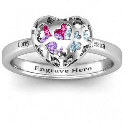 Heart Cut-out Petite Caged Hearts Ring with Classic with Engravings Band - Crafted By Birthstone Design™