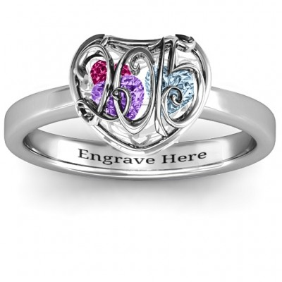 2015 Petite Caged Hearts Ring with Classic with Engravings Band - Crafted By Birthstone Design™