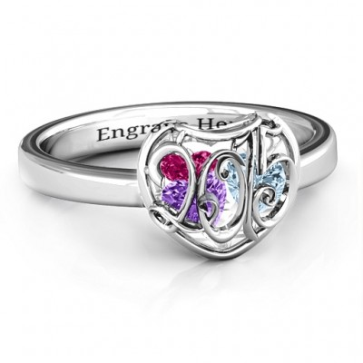 2015 Petite Caged Hearts Ring with Classic Band - Crafted By Birthstone Design™