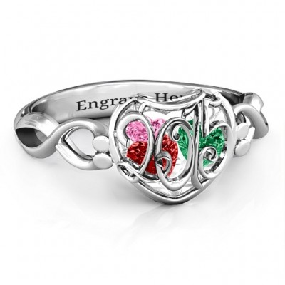 2015 Petite Caged Hearts Ring with Infinity Band - Crafted By Birthstone Design™