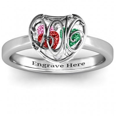2016 Petite Caged Hearts Ring with Classic with Engravings Band - Crafted By Birthstone Design™