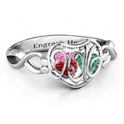 2016 Petite Caged Hearts Ring with Infinity Band - Crafted By Birthstone Design™