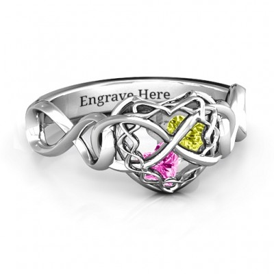 My Infinite Love Caged Hearts Ring - Crafted By Birthstone Design™