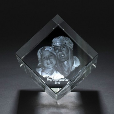 Square Crystal With Photo/Text Engraved Inside - Crafted By Birthstone Design™