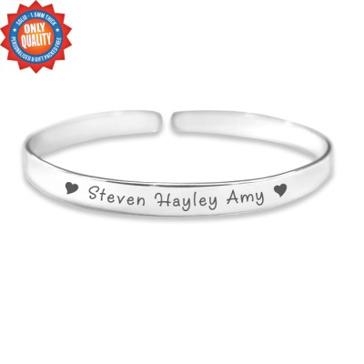 Personalised 8mm Endless Bangle - 925 Sterling Silver - Crafted By Birthstone Design™