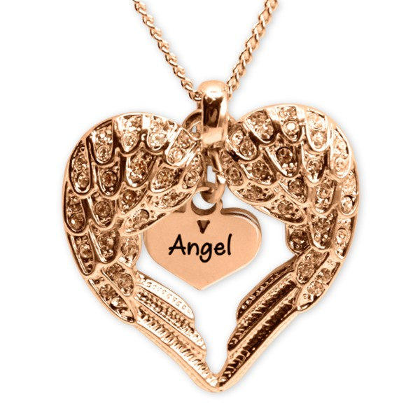 Personalised Angels Heart Necklace with Heart Insert - 18ct Rose Gold - Crafted By Birthstone Design™