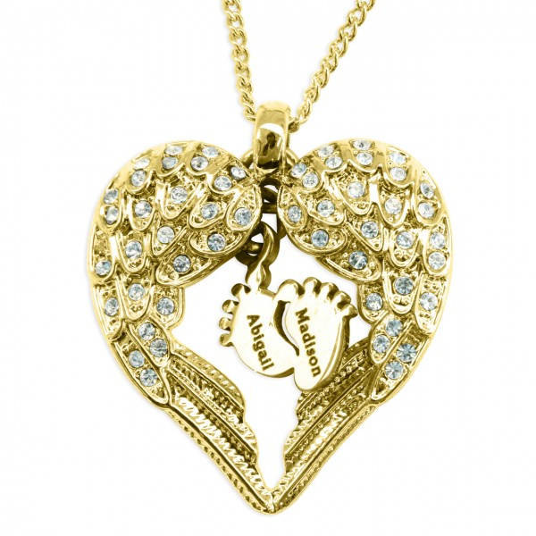 Personalised Angels Heart Necklace with Feet Insert - GOLD - Crafted By Birthstone Design™