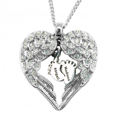 Personalised Angels Heart Necklace with Feet Insert - Crafted By Birthstone Design™