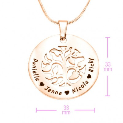 Personalised BFS Family Tree Necklace - 18ct Rose Gold Plated - Crafted By Birthstone Design™