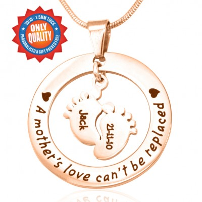 Personalised Cant Be Replaced Necklace - Single Feet 18mm - 18ct Rose Gold - Crafted By Birthstone Design™