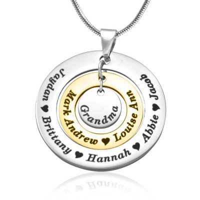 Personalised Circles of Love Necklace - TWO TONE - Gold  Silver - Crafted By Birthstone Design™