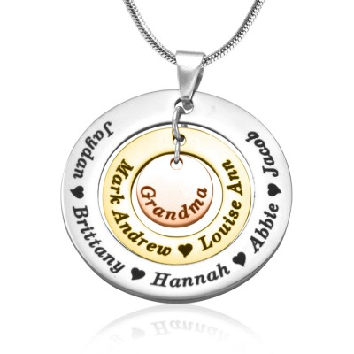 Personalised Circles of Love Necklace - Three Tone - Rose Gold Silver - Crafted By Birthstone Design™