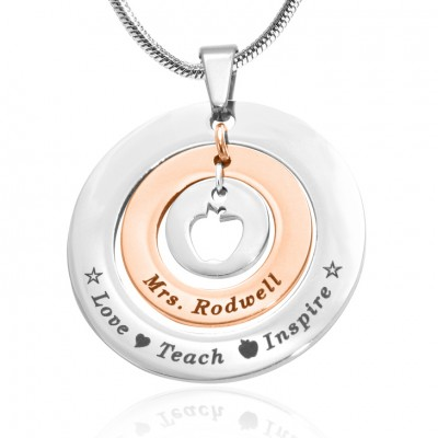 Personalised Circles of Love Necklace Teacher - TWO TONE - Rose Gold  Silver - Crafted By Birthstone Design™