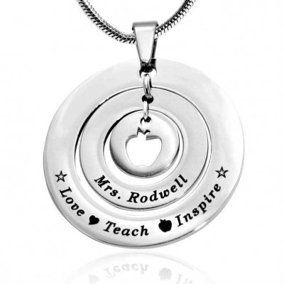 Personalised Circles of Love Necklace Teacher - Sterling Silver - Crafted By Birthstone Design™
