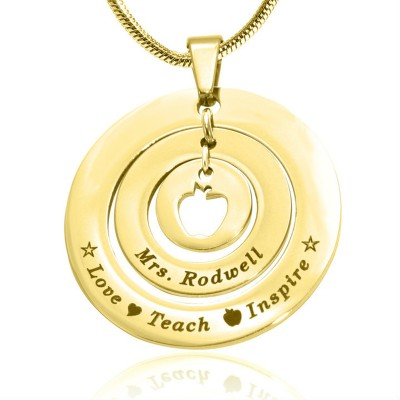 Personalised Circles of Love Necklace Teacher - 18ct GOLD Plated - Crafted By Birthstone Design™