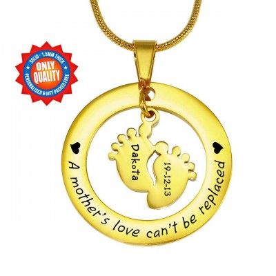 Personalised Cant Be Replaced Necklace - Single Feet 18mm - 18ct Gold Plated - Crafted By Birthstone Design™