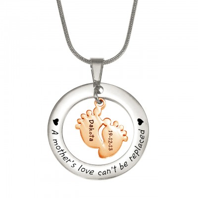 Personalised Cant Be Replaced Necklace - Single Feet 18mm - Two Tone - 18ct Rose Gold Plated - Crafted By Birthstone Design™